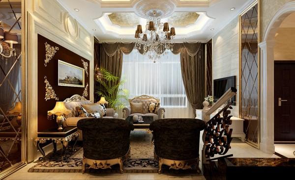客厅造型墙多采用了菱形镜和附有逻辑性的几何形体和个性的吊顶富丽堂皇的装饰和浓烈的色彩,呈现的则是一片清新,典雅和大气并存的轻松空间,大理石的电视背景墙明亮典雅的窗帘和古典色彩的地毯相呼应的吊灯