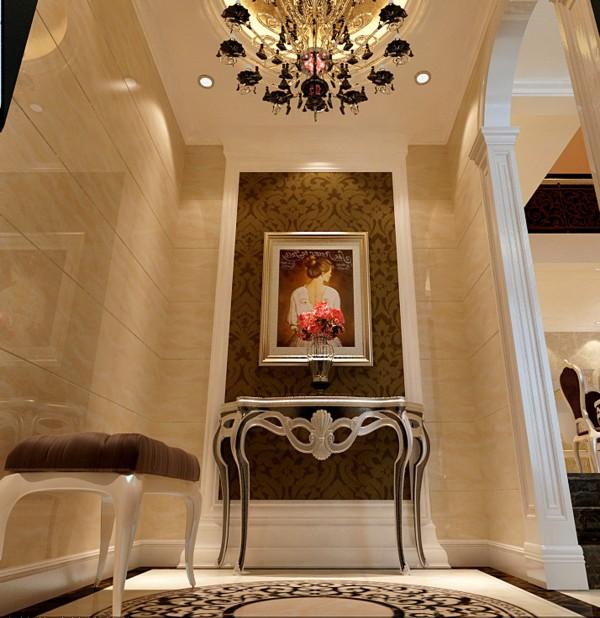门厅玄关采用了简单的几何形体做造型、壁纸和充满想象的壁画做点缀加以大理石的铺垫、吊顶和地面拼花相互呼应彰显出豪华、富丽的特点,充满了强烈的动感效果