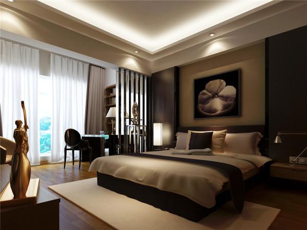设计理念:主卧房以温馨宁静取胜,壁面以大叶花装饰,床头色块分割表现出安逸的气氛。亮点:卧室灯光以柔和宁谧为主,即举气氛又不失明亮感。