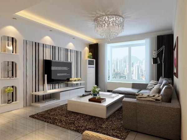 电视背景墙采用竖条纹的壁纸设计,简单大方,更富有立体感。