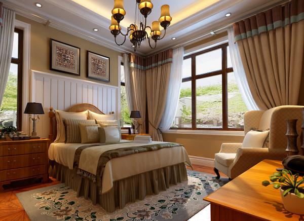 设计理念:功能性与实用性完美结合。 亮点:卧室继续延续着美式风格的清新淡雅,墙面上的花纹壁纸营造出浪漫 温馨的空间氛围,而新古典风格的家具将美式风格演绎得淋漓尽致,让业主尽享惬意的私人时光。
