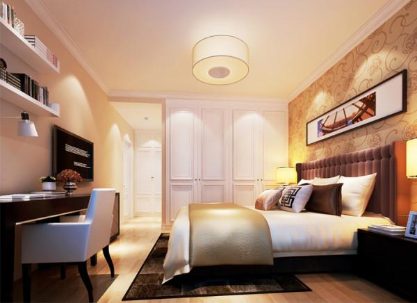 设计理念:主卧室在功能上满足基本的储物、办公、休息等功能,设计师将主卧的衣柜设计为嵌入式壁柜,为其设计通顶的储物衣柜,足以满足储物需求,且不易藏灰纳垢,在色调上以温馨的暖驼色为主