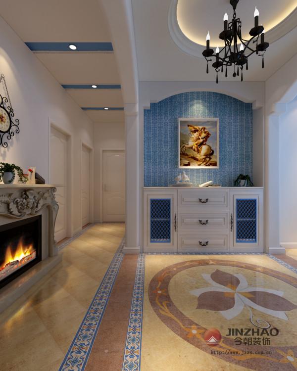 方案应客户需求,整体的设计风格是地中海风格。门厅的吊顶和地面的拼花呼应,再配合进门的实木鞋柜,使得整个门厅空间,自然大方,空间独立,材质丰富。