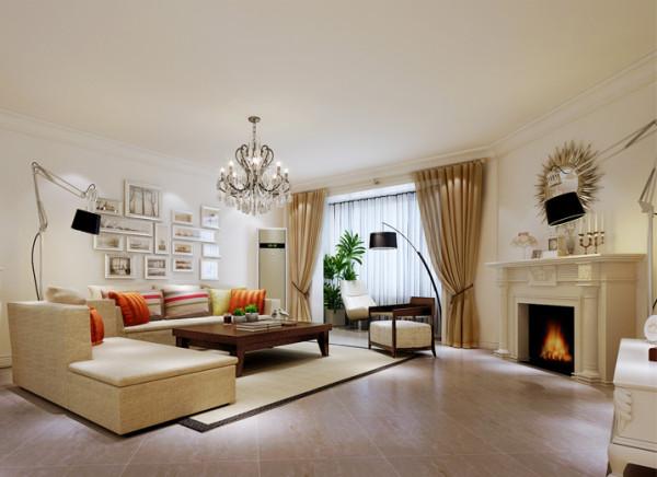 设计理念:此案例户型是异形空间,打开入户门能直视一面客厅的墙面,设计师将这面墙做成假壁炉的装饰,既能很好的破解异形空间,又恰到好处的结合了北欧风格特点,而其他墙面装饰都简化