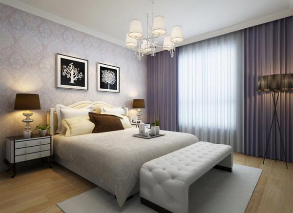 卧室:舒适典雅的主人卧房 设计理念:女主人比较注重卧室的感觉,主要强调舒适,并不需要过多复杂造型,因此温馨舒适是一进卧室的主要感受。
