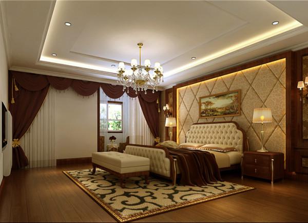 大木框卧室布艺软包装饰背景墙。