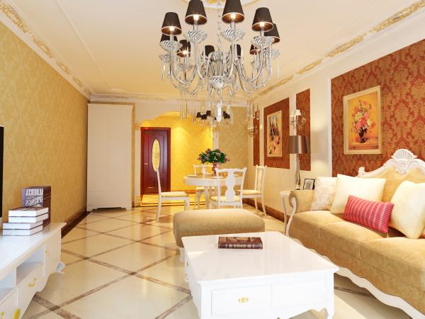 客厅设计中打破了纯古典欧式设计的观念,将古典的皇家装饰元素融入了现代风格设计,使整个空间高贵不失典雅。