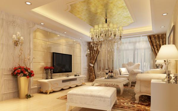 客厅经过改造后整体空间更加舒适,电视背景墙用微晶石和护墙板的结合,整体感更加大气,美观。