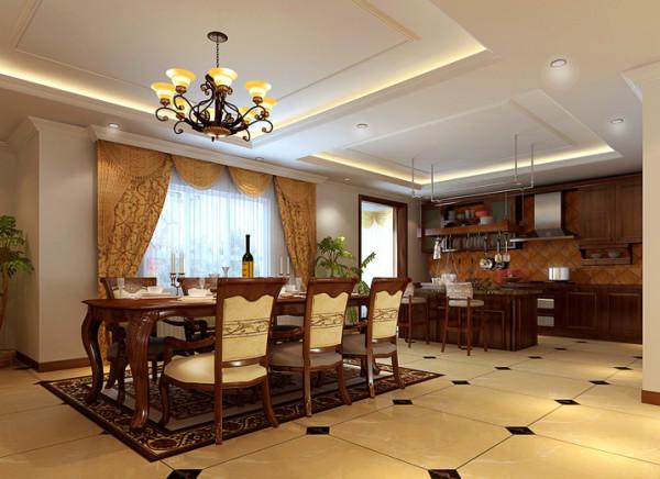 开放式的餐厅实木整体复合橱柜和欧风的大餐桌柔和的非常完美。