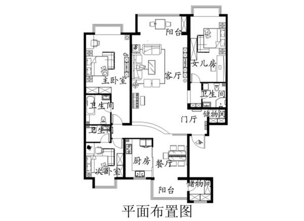 新地中心-新中式装修-三居室装修-平面布置图