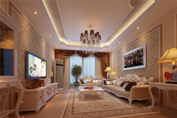 白色调为主,灯光运用暖色来烘托整体的氛围。客厅以华丽唯美的石膏线装饰,典雅的布艺沙发和精致的电视柜给人一种完美的法式浪漫风情的享受。 亮点:独特的吊顶,油画,唯美的家具