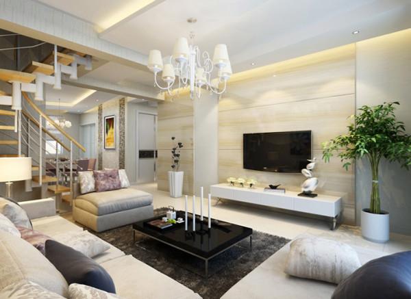 客厅:简约个性的客厅空间 设计理念:由于房屋原有结构的缺陷,所以设计中多采用异形处理方法来化解格局的不整,在异形造型中又衬托出对称美,显得空间非常丰富而不凌乱。