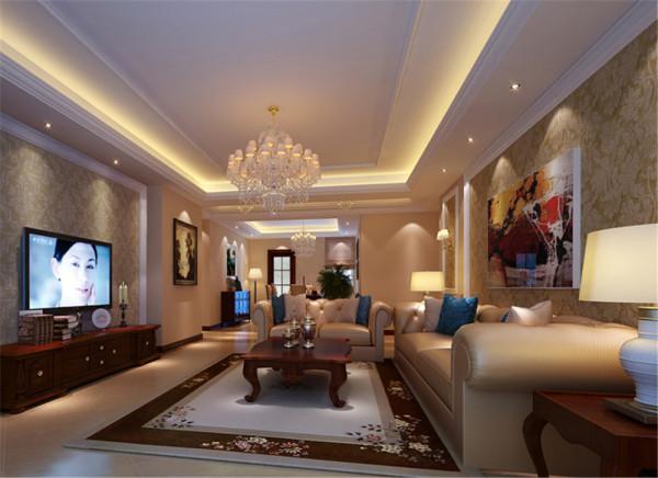 客厅的设计和餐厅融为一体,淡色的地砖和壁纸竟是如此和谐搭配 ,家具整 体色系的风格,也是如此让人喜爱。浅色的布艺沙发敦敦实实地坐落在客厅的中 央。