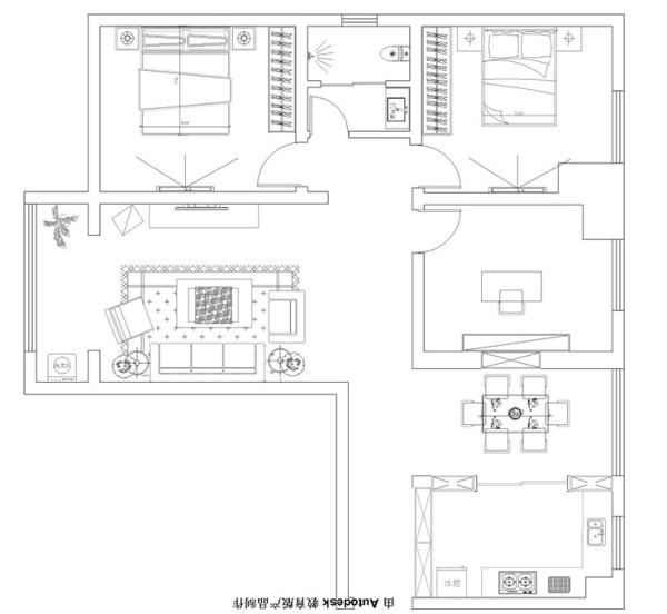 锦艺城127平方三室两厅造型户型图
