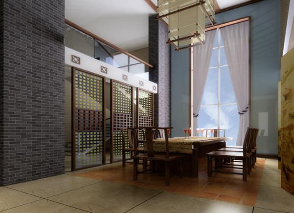 结合现代板式家具的手法并以此造型贯穿整个餐厅,灰色墙砖及原木线条的结合凸显业主对淡雅、自然的追求;