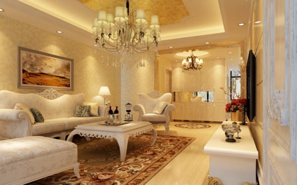 进门玄关处,用莎安娜米黄做整体的大理石门套,区隔了客厅,顶面的欧式圆顶和地面的进门拼花遥相呼应。