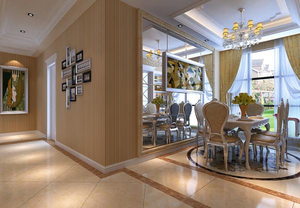 餐厅设计采用银镜,明亮。欧式壁画,个性。吊顶叠级,增加空间高度。