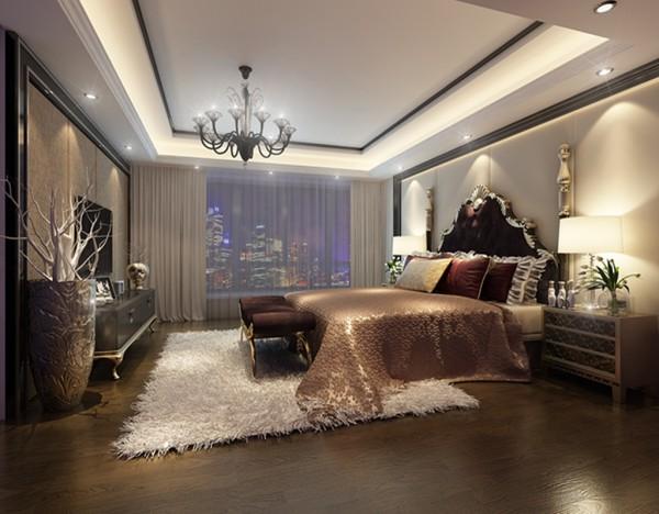 设计理念:卧室以温馨为主,作为主人的私密空间,主要以功能性和实用舒适为考虑的重点,用温馨柔软的布艺来装点,同时在用色上注重统一。