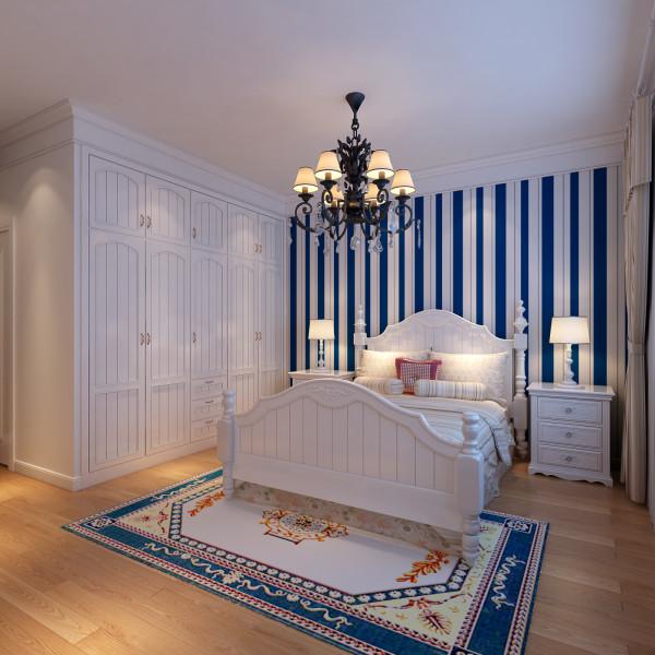 卧室只采用壁纸,欧式石膏线做修饰,使得卧室简约,温馨.