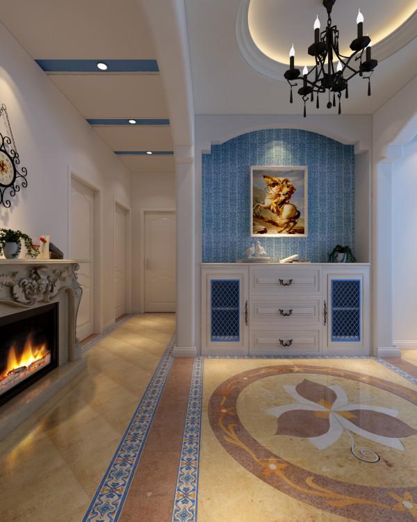 门厅的吊顶和地面的拼花呼应,再配合进门的实木鞋柜,使得整个门厅空间,自然大方,空间独立,材质丰富