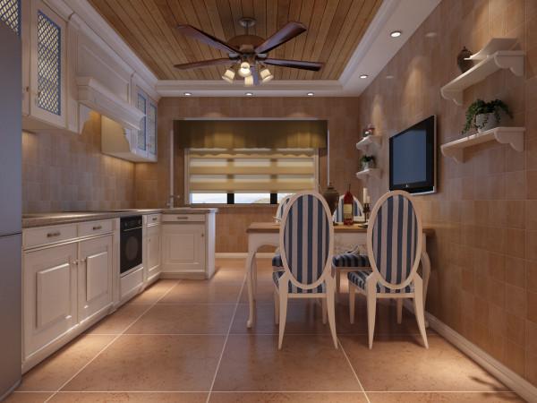 厨房的橱柜配合着吊顶,使得厨房脱离了传统厨房的冷清,使得整个厨房更加漂亮、奢华而不俗套。
