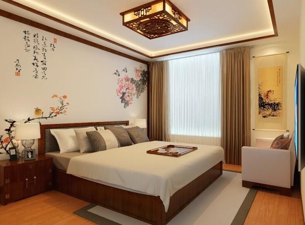 卧室是现代与中式元素的完美结合,中国传统的花鸟背景图,充分体现出中国传统美学精神。
