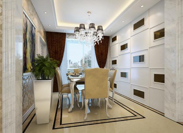 餐厅的整体色调以象牙白为主,简单的石膏板吊顶点缀出现代的气息,以具有特色的欧式壁纸和欧式的挂画做装饰,再配上欧式的餐桌,符合简欧风格,同时兼容华贵典雅与时尚现代。