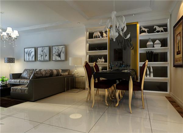 设计理念:餐厅的空间讲究对称且划分简单合理,给了主人们更充裕的自由活动空间,搭配带有装饰性的餐边柜,家庭氛围更加愉悦。 亮点:餐厅上方点缀若干照片的置物柜简约大气,兼具收纳和装饰功能。