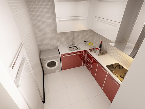设计理念:整体用光亮的材料打造简约、整洁的厨房,使烹饪更高效且心情愉悦。 亮点:现代感十足的橱柜与电气的搭配简约高档,红色的橱柜使整个厨房鲜亮起来,更鲜活赋予韵律感。
