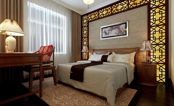 主卧室在色彩方面秉承了传统古典风格的典雅和华贵,但与之不同的是加入了很多现代的元素,呈现着现代的特征。