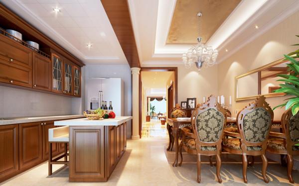 整体厨柜与餐桌色彩一致,使开放式厨房空间更完整,防水石膏线与铝扣板的搭配,更符合欧式风格,中间与家具同色横梁的加入,在没有破坏整体空间感的同时将厨房空间和用餐空间在视觉上划分开。
