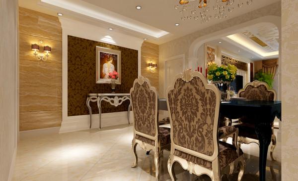 餐厅在设计上采用欧式风格餐桌,体现出客户高贵与优雅。餐厅区域内的玄关墙采用石材等材料制作,使餐厅区域在具有优雅气质的同时,又把餐厅衬托出奢华的气质。