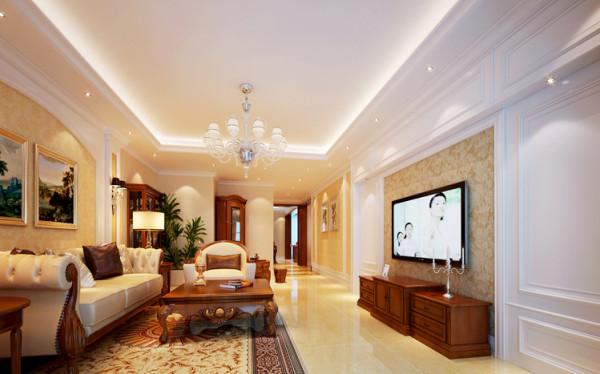 米色搭配金色花纹壁纸,点缀电视背景与沙发背景,罗马柱的加入,融入浓浓古典风格。两侧的石膏板造型既巧妙隐藏书房入口,又符合三段对称式美学原则。
