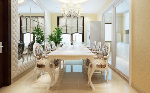 餐厅、餐边镜加上软包设计,软硬结合,既能使形体更为突出,又能增加张力,起到扩大空间的视觉效果,时尚大气。