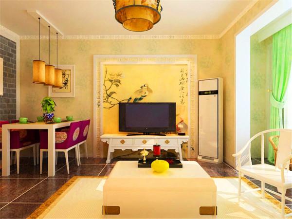 客厅地面采用亚光深灰地砖,使空间显得稳重内敛,墙体采用花纹浅黄色壁纸,突显中式的韵味,尤其是电视背景墙,采用花格圈边里面粘贴中国水彩画壁纸