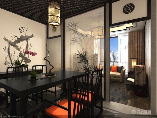 餐厅空间加入不锈钢造型墙挂。传统中加入后现代的视觉冲击,在安静中加入点点活力
