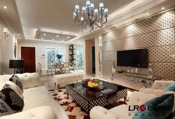 客厅电视墙细节,用软包做电视墙造型,另类的优雅,给清冷的色调增加了温暖的气息!