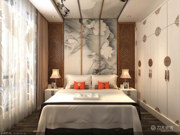 卧室空间以白色为主,配以原木窗格造型,繁简搭配,在墙面与顶面做上装饰效果,又有灰白色效果,有水墨江南的舒适感。