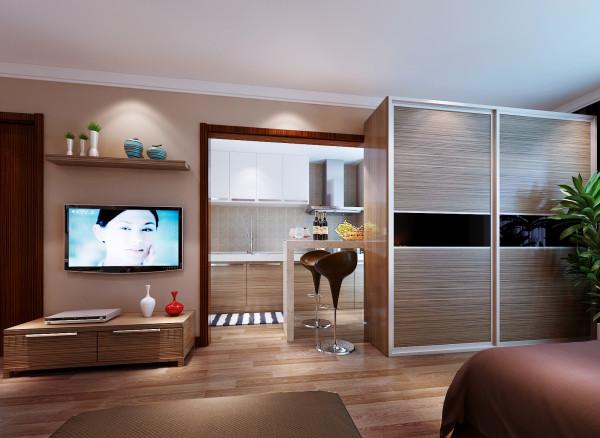 用一个现代感的隔断分割出卧室与客厅,厨房利用一个小小的吧台不但解决用餐需求,也不乏浪漫的情调在里面。