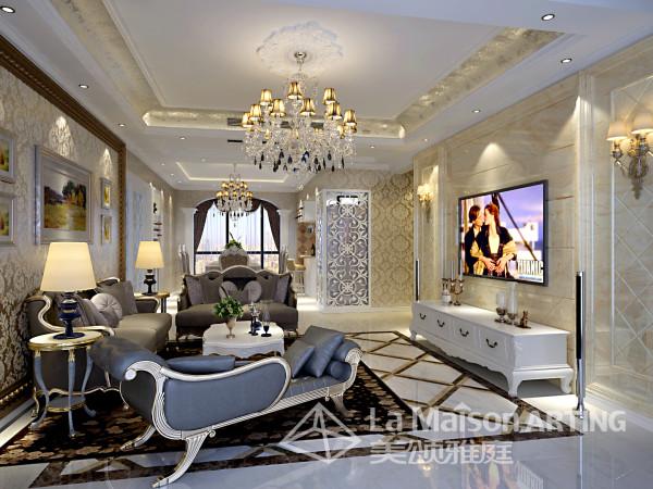 客厅:品位与奢华尽显--层次丰富的大理石,艺术线条,水晶吊灯,完美融合