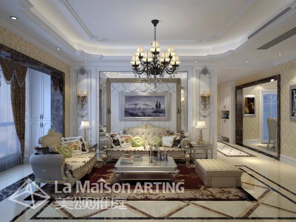 简洁的电视背景墙,和古典色彩的地毯相呼应的吊灯,加上造型简洁大方的沙发构成了一个典型的欧洲世界,送给心灵一次欧洲的游历。