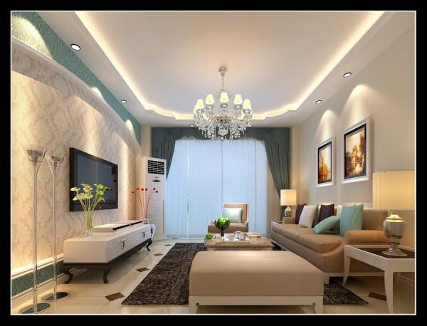 客厅电视墙采用圆拱形的设计,用双色壁纸做装饰,吊顶采用一圈的边吊,显得更有层次感,整体看上去温馨舒适。