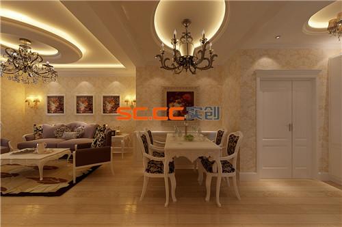 餐厅贯通与客厅,整个空间顶面的形式完美区分了功能的分区,餐桌靠墙位置座的以餐桌台面齐平的地柜,在储物功能的基础上又起装饰效果