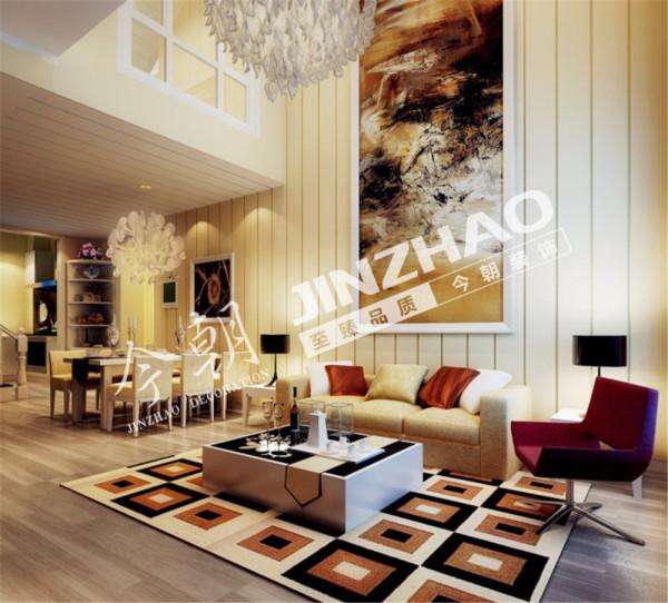 乳白色在昏黄的柔光之下虽将空间打造的暖暖的,但是缺少了鲜艳活泼之色。多彩格子羊毛地毯极富质地。现代简约的元素代表中和了过于浓烈的浪漫情怀,收与放之间自在把握。