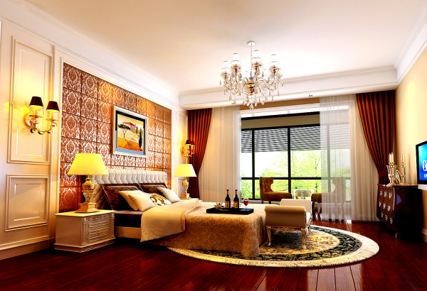 床头的软包与天棚和墙面的结合。房间的配色与装修样式。进口房子的整体风格。