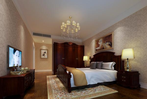 卧室的设计根据主人的要求来设计,深色家具体现出主人性格的稳重,精美的台灯可以看出主人在生活上的品味。 亮点:简约的石膏线条,装饰油画,深色家具