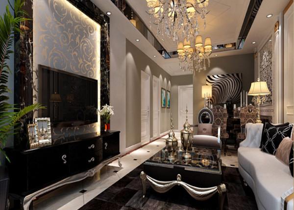 灰色的墙面,黑色的造型,白色的顶面,黑白灰的简单色调,搭配少许香槟金色的使用,在低调的单色世界里融合了奢华的气息。
