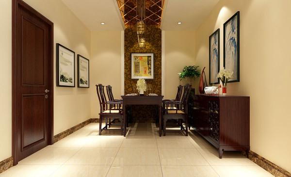 餐厅顶部的茶色菱形车边境与中式暗花壁纸的结合,是现代与传统居室风格的碰撞,搭配中式的雕花木制家具,来呈现亦古亦今的氛围,同时使对生活的实用性和对传统文化的追求得到了满足。
