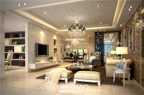 客厅的设计整体采用白色为主色调,以大理石、淡咖啡色墙纸作为主要装饰。欧式风格主要强调的是简洁、清晰和优雅,而且装饰品要大方得体。