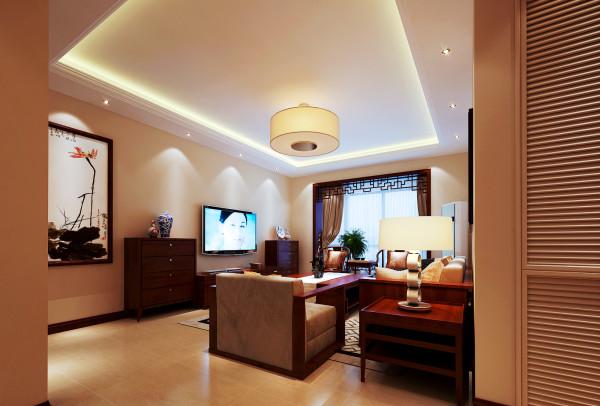 客厅往往是最显示一个人的个性和品位。在一个家庭中,客厅是连接内外和沟通客主情感的主要场所。以红木家具和壁画来突出新中式感觉,吊灯也是设计师多次挑选的,以圆形灯来突出亮点,使客厅看起来非常的和谐。